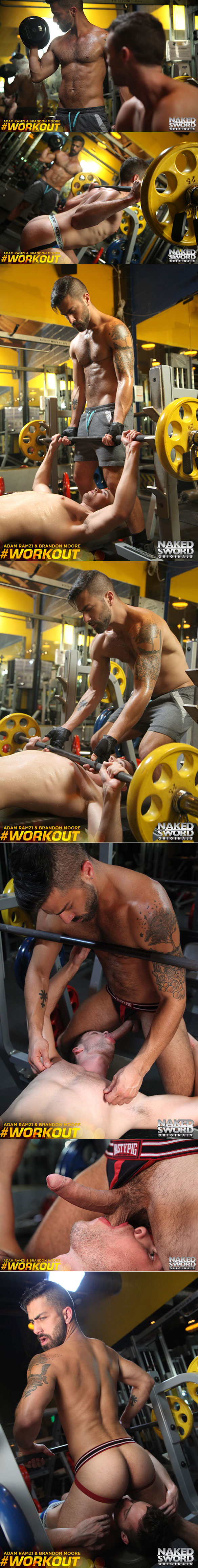 "NakedSword Originals: Adam Ramzi pounds Brandon Moore in ""#Workout, Episode 1: Gym-Tastic Loads"""