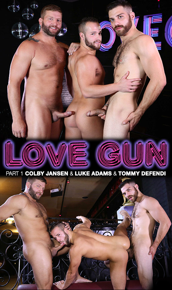 "Men.com: Luke Adams bottoms for Tommy Defendi and Colby Jansen in ""Love Gun, Part 1"""