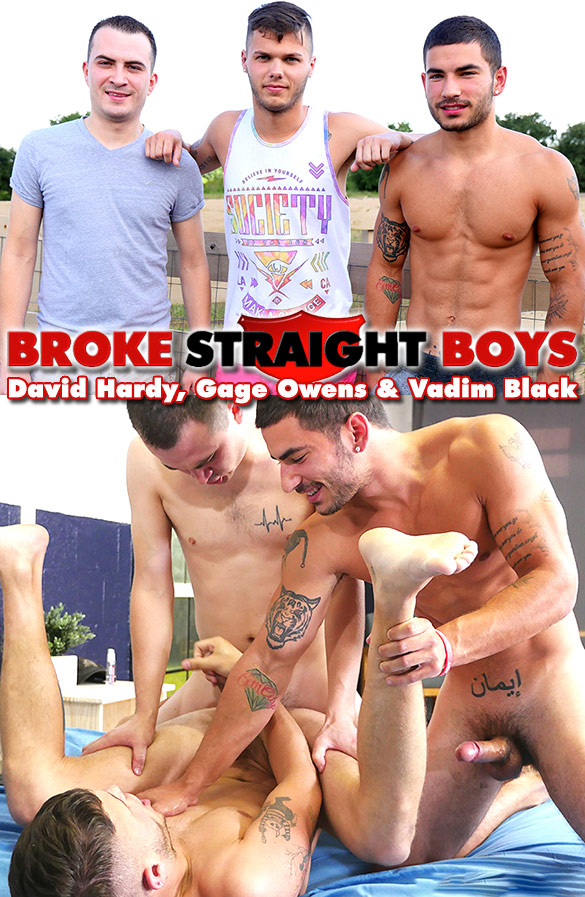 Broke Straight Boys:  Vadim Black and David Hardy double penetrate Gage Owens