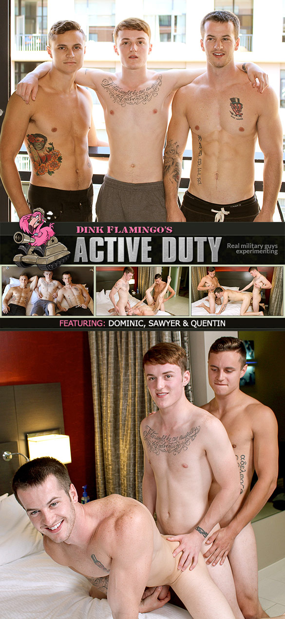 ActiveDuty: Sawyer, Quentin and Dominic fuck each other bareback