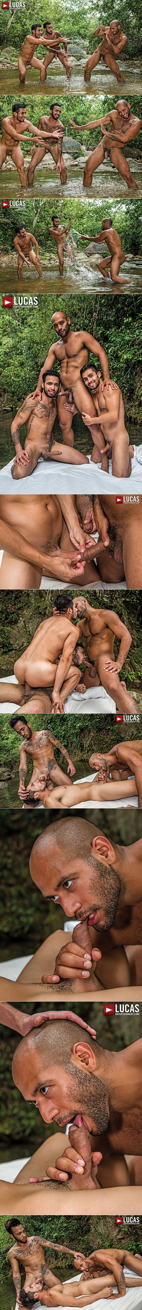 "Lucas Entertainment: Leo Forte, Derek Allan, And Raymer's bareback threesome in ""Foreskin Fanatics"""