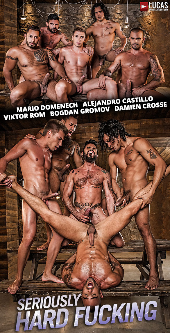 "Lucas Entertainment: Alejandro Castillo, Viktor Rom, Bogdan Gromov, Mario Domenech, And Damien Crosse's bareback orgy in ""Seriously Hard Fucking"""