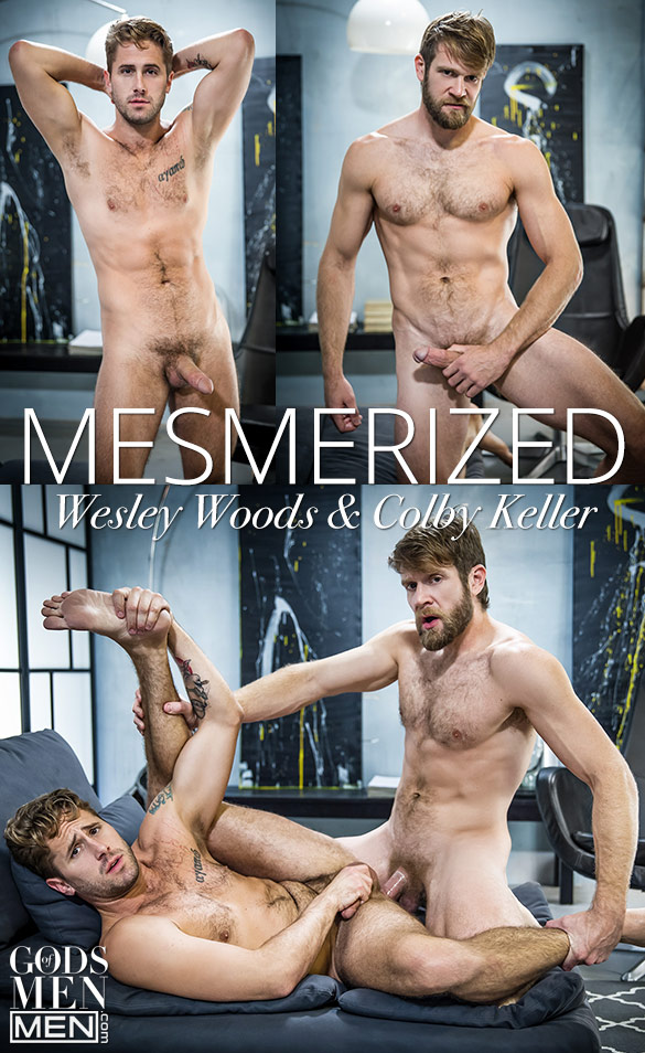 "Men.com: Colby Keller pounds Wesley Woods in ""Mesmerized"""