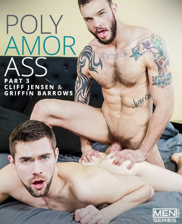 "Men.com: Griffin Barrows takes Cliff Jensen's thick cock in ""Polyamor-Ass, Part 3"""