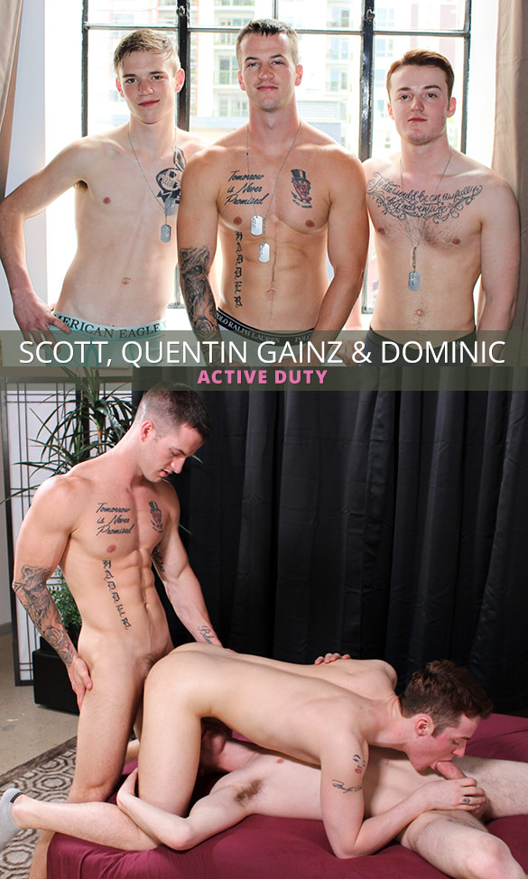 ActiveDuty: Quentin Gainz, Scott and Dominic's raw threeway