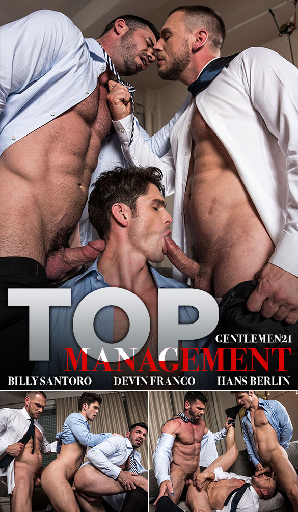 "Lucas Entertainment: Hans Berlin, Billy Santoro and Devin Franco's raw threesome in ""Gentlemen 21: Top Management"""