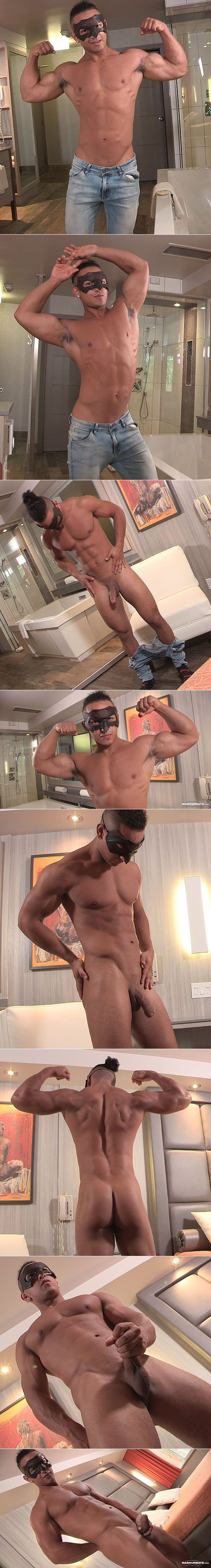 Maskurbate: Muscle jock James busts a nut