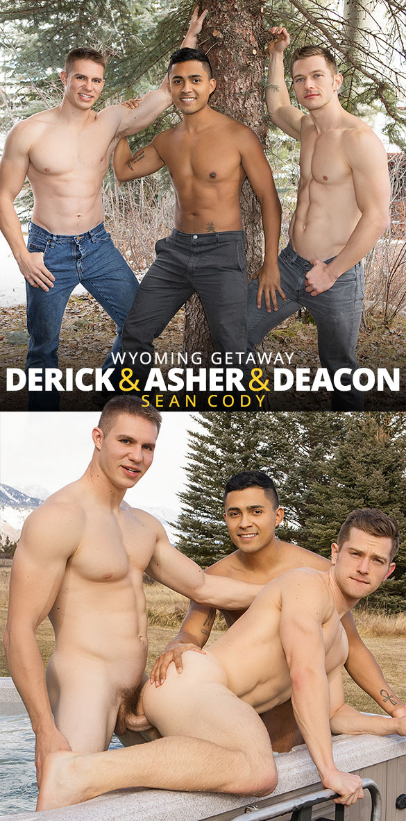 "Sean Cody: Derick, Asher and Deacon's bareback threesome in ""Wyoming Getaway, Day 2"""