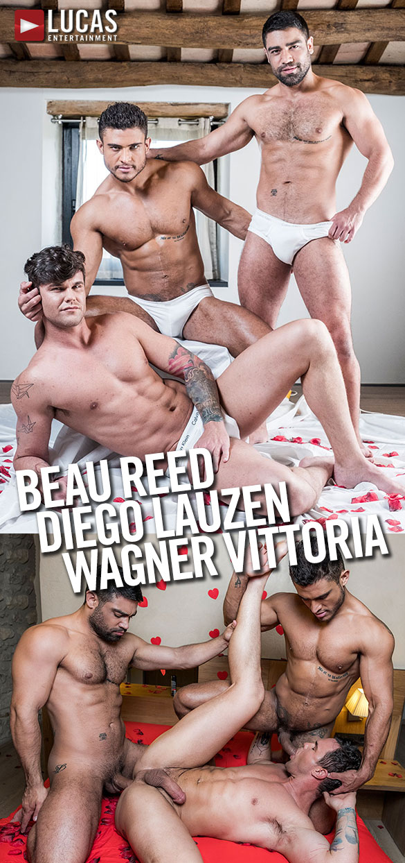 Lucas Entertainment: Diego Lauzen and Wagner Vittoria fuck Beau Reed raw