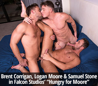 "Brent Corrigan, Logan Moore and Samuel Stone's hot threesome in ""Hungry for Moore"""