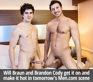 "Will Braun and Brandon Cody get it on and make it hot in ""Blue Lights"" at Men.com"