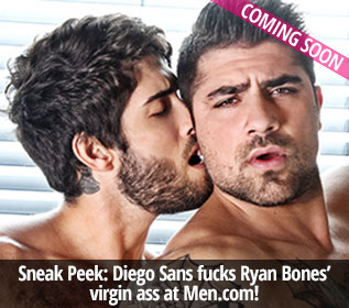 Diego Sans fucks Ryan Bones' virgin ass at Men.com!