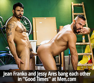 "Jean Franko and Jessy Ares bang each other in ""Good Times"" at Men.com"