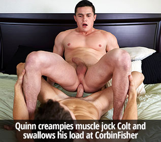 Quinn creampies muscle jock Colt and swallows his load at CorbinFisher