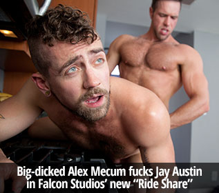 "Big-dicked Alex Mecum fucks Jay Austin in Falcon Studios' new ""Ride Share"""