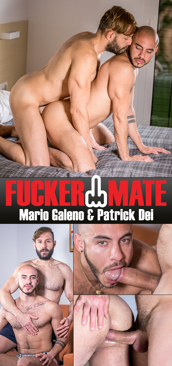 "Fuckermate: Patrick Dei rides Mario Galeno's thick cock bareback in ""After Shower Bang"""