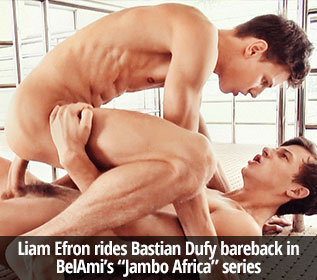 "Liam Efron rides Bastian Dufy bareback in BelAmi's ""Jambo Africa"" series"
