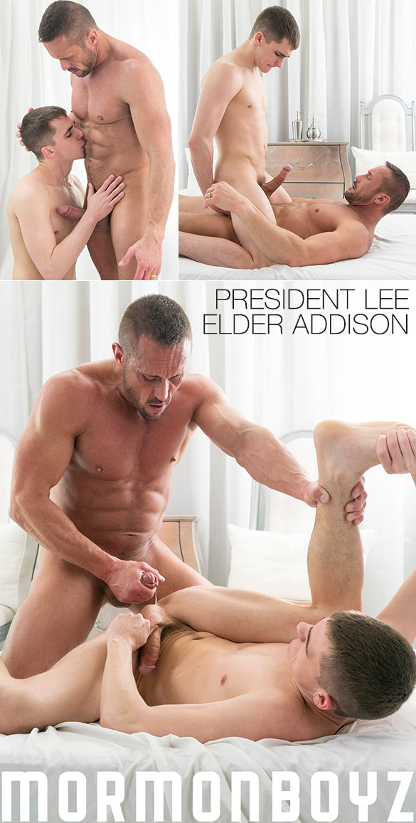 "MormonBoyz: Elder Addison takes President Lee's thick cock raw in ""Ordination"""