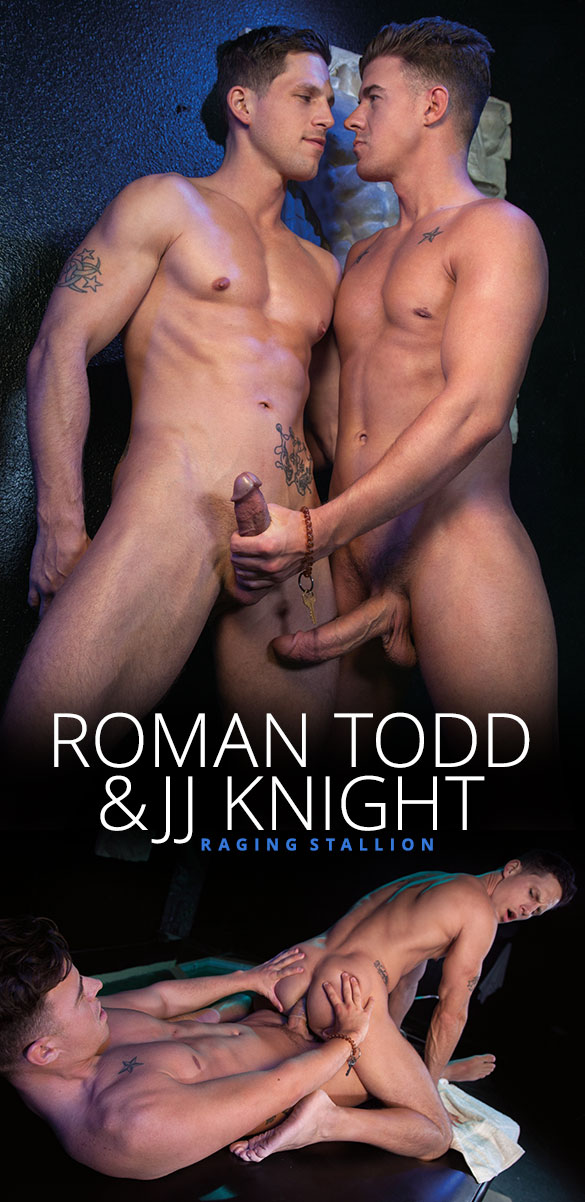 Raging Stallion: Roman Todd rides JJ Knight's enormous cock