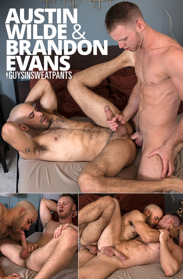 GuysInSweatpants: Austin Wilde and Brandon Evans flip fuck bareback