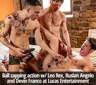 "Lucas Entertainment: Devin Franco, Leo Rex and Ruslan Angelo's raw threeway fuck in ""Zapped, Drilled & Fucked"""