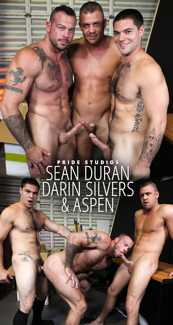 "Pride Studios: Sean Duran bottoms for Darin Silvers and Aspen in ""First Day on the Job"""