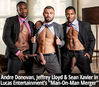 "LucasEntertainment: Jeffrey Lloyd, Sean Xavier and Andre Donovan's bareback threeway in ""Gentlemen 24: Man-On-Man Merger"""