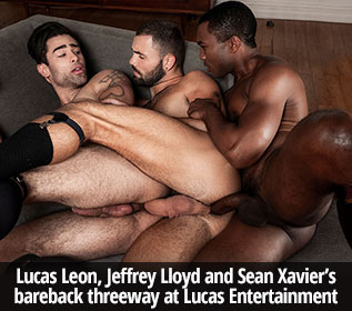 "Lucas Entertainment: Jeffrey Lloyd, Lucas Leon and Sean Xavier's raw threeway in ""Gentlemen 24: Man-On-Man Merger"""
