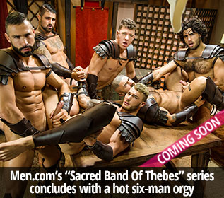 "Men.com: William Seed, Diego Sans, François Sagat, JJ Knight, D.O. and Ryan Bones' six-man orgy in ""Sacred Band Of Thebes, Part 4"""