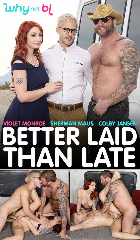 "WhyNotBi: Colby Jansen, Violet Monroe and Sherman Maus' bareback threeway in ""Better Laid Than Late"""