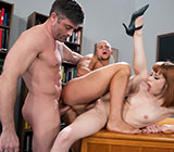 "WhyNotBi: Lance Hart, Eli Hunter and Alexa Nova's bi bareback threeway in ""Busybodies"""