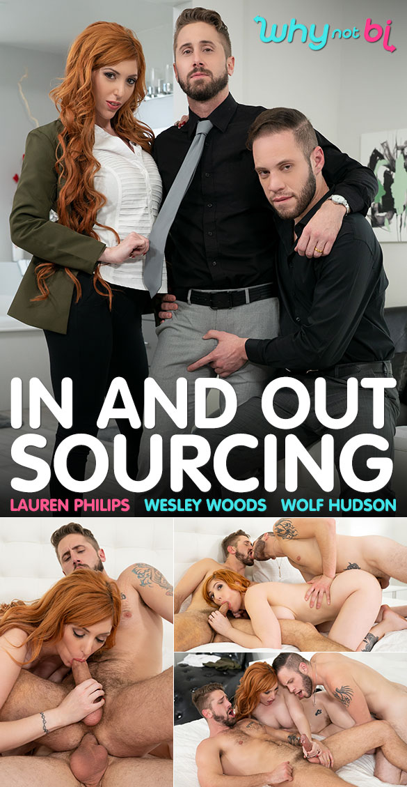 "WhyNotBi: Wolf Hudson fucks Lauren Philips and Wesley Woods in ""In and Outsourcing"""