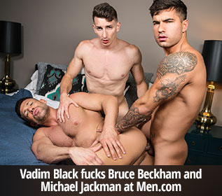 "Men.com: Vadim Black fucks Bruce Beckham and Michael Jackman in ""Small Things Cum in Good Packages"""