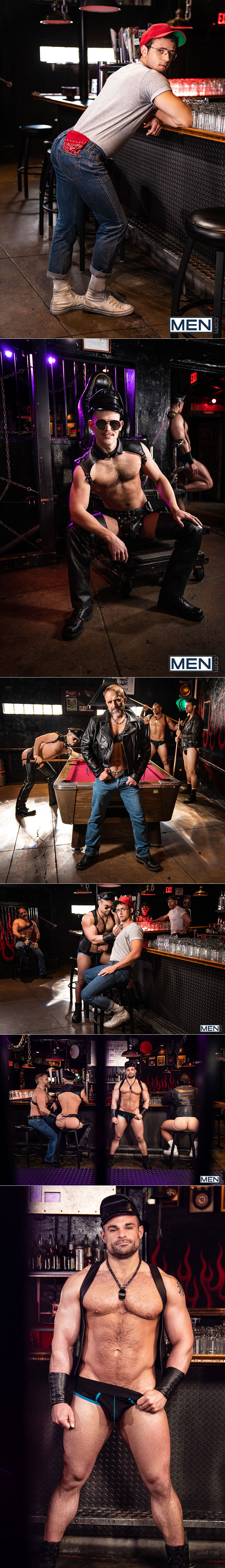 "Men.com: Dirk Caber, Kurtis Wolfe and Jaxx Thanatos fuck and fist Nate Grimes in ""Tom Of Finland - Leather Bar Initiation"""