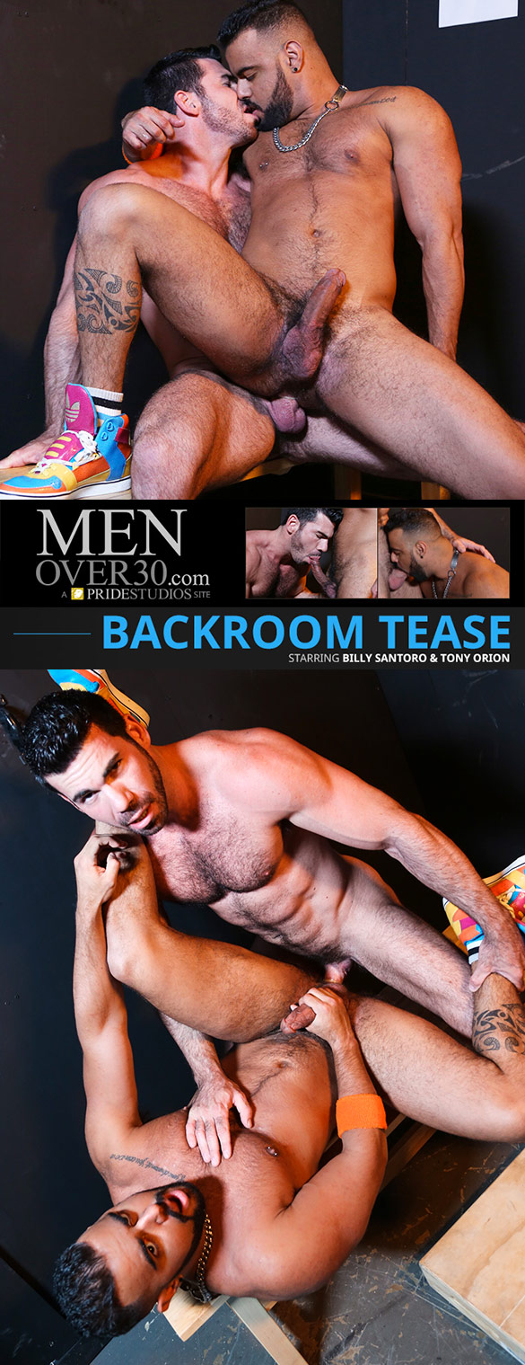 "MenOver30: Billy Santoro bangs Tony Orion in ""Backroom Tease"""