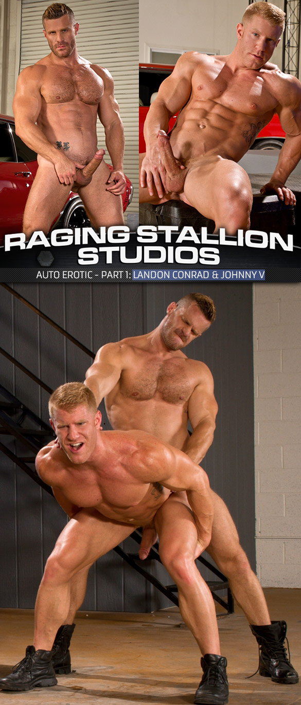 "Raging Stallion: Landon Conrad pounds Johnny V in ""Auto Erotic, Part 1"""