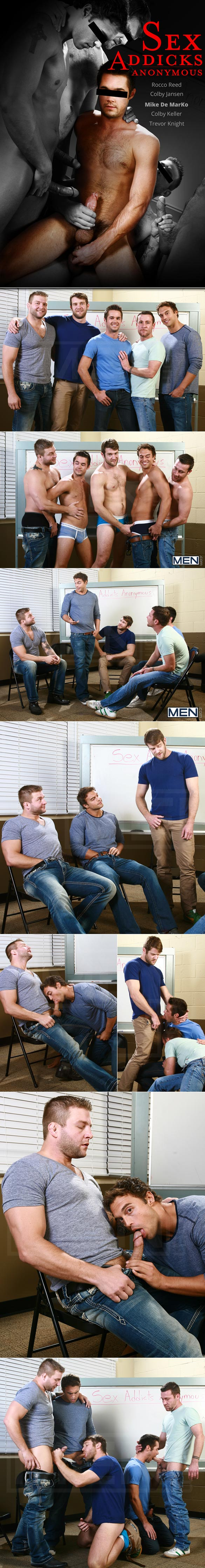 "Men.com: ""Sex Addicks Anonymous"" featuring Trevor Knight, Colby Keller, Colby Jansen, Rocco Reed and Mike De Marko"